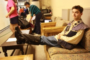 Romeo played by Alex Deland'17 relaxes before his debut on stage. Photographer: Rajae McClinek '16