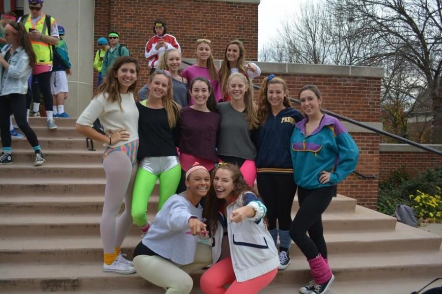 A group of senior girls show their spirit by representing the '80's for decade's day during Blair Week. Photographer: Nicole Blekhter '15
