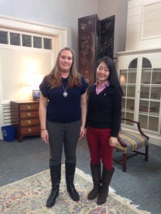 Yvonne Zhou '15 poses with Kristina Pentek '00, a lawyer, who returned to Peddie to speak at a Senior lunch. Photographer: Emma Rowen