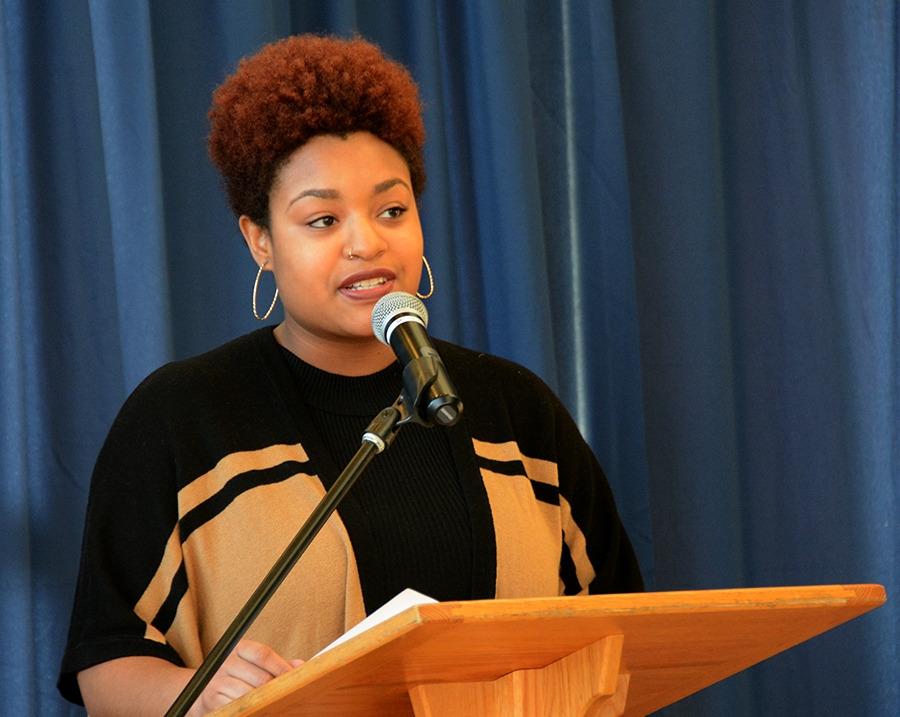 Diku Rogers speaks at MLK breakfast at Middlebury College. Photo courtesy middlebury.edu