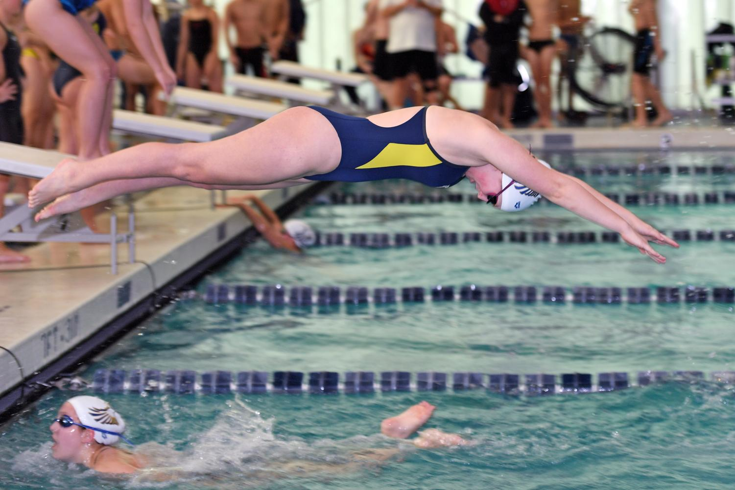 Peddie swimmer diving into the water. Photo Courtesy of Andrew Marvin.